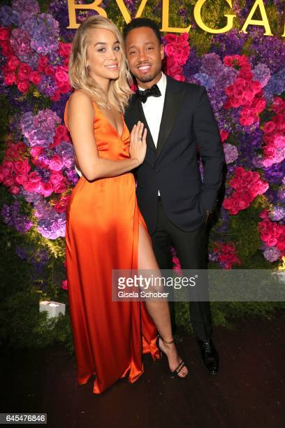 Jasmin Sanders and Terence J during the Bulgari PreOscars party at hotel Chateau Marmont on February 25 2017 in Los Angeles California