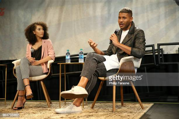 Jasmin Savoy Brown and Jeffrey BowyerChapman attend the Next Gen Panel at the 4th Annual Bentonville Film Festival Day 4 on May 4 2018 in Bentonville...