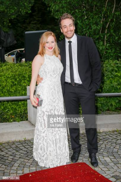 Jasmin Schwiers and her husband Jan van der Weyde attend the Bayerischer Fernsehpreis 2017 at Prinzregententheater on May 19 2017 in Munich Germany