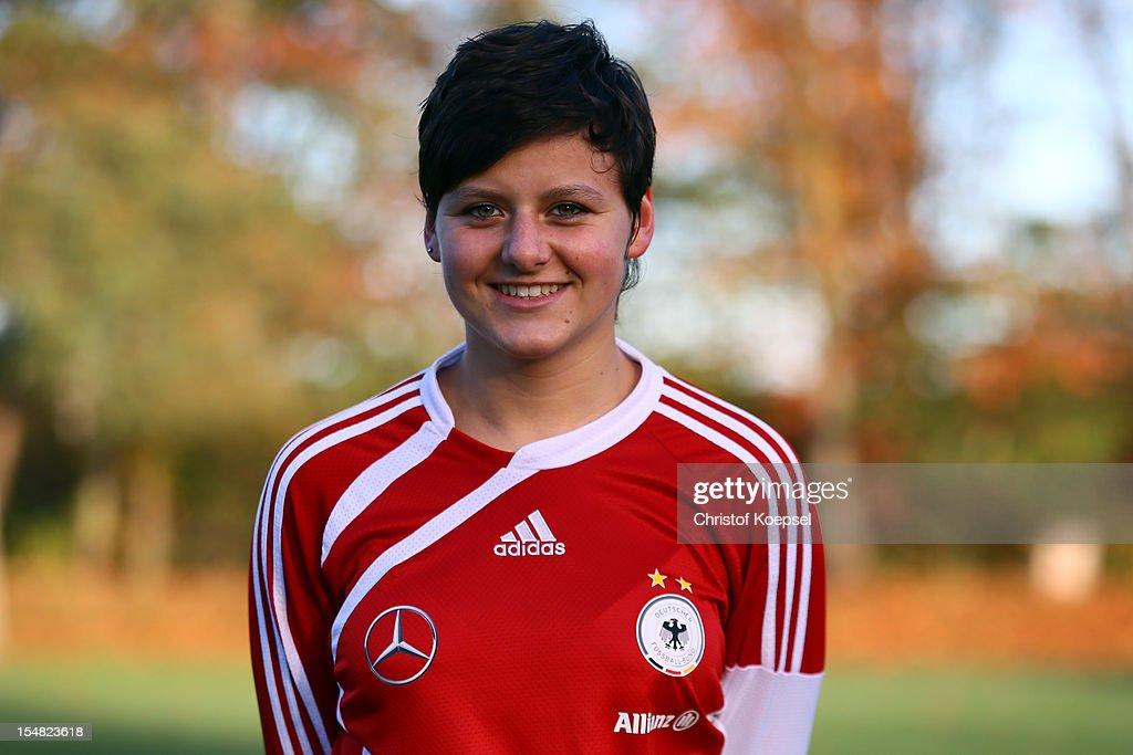 Jasmin Sehan poses during the Germany Women's U17 team presentation at Sport School Wedau on October 27, 2012 in Duisburg, Germany.