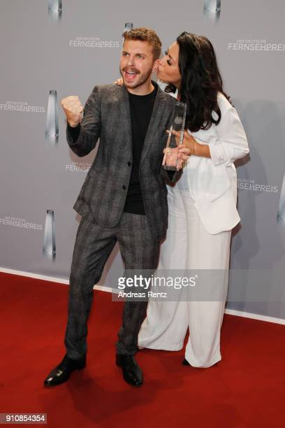 Jasmin Shakeri and award winner Edin Hasanovic attend the German Television Award at Palladium on January 26 2018 in Cologne Germany