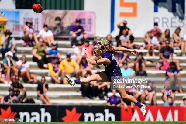 Jasmin Stewart of the Dockers kicks on goal during the 2020 AFLW Round 01 match between the Fremantle Dockers and the Geelong Cats at Fremantle Oval...