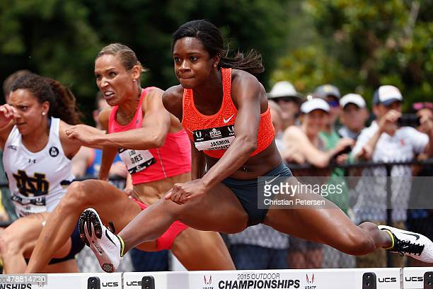 Jasmin Stowers competes in the Women's 100 Meter Hurdle semifinal during day three of the 2015 USA Outdoor Track Field Championships at Hayward Field...