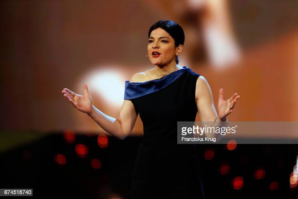 Jasmin Tabatabai host of the Awards on stage at the Lola German Film Award show at Messe Berlin on April 28 2017 in Berlin Germany
