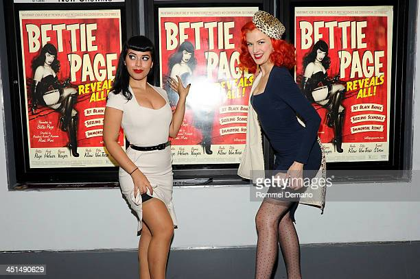 Jasmin Vintage Vandalizm Rodriguez and Bettina May attend the screening of Bettie Page Reveals All at Village East Cinema on November 22 2013 in New...