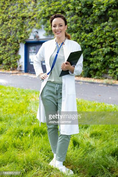 """Jasmin Wagner poses during a photocall for the series """"Alles was zählt"""" at MMC Studios on August 12, 2021 in Cologne, Germany."""