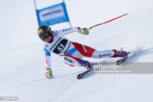 Jasmina Suter of Switzerland competes during the Audi FIS Alpine Ski World Cup Women's Super G on December 8 2018 in St Moritz Switzerland