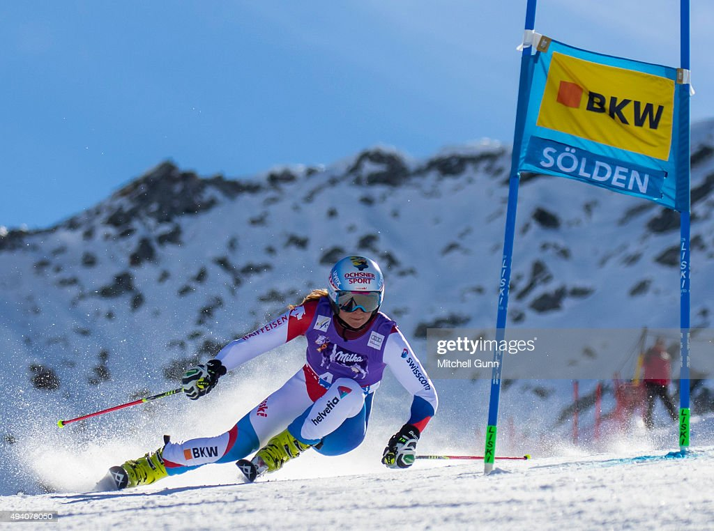 Jasmina Suter of Switzerland during the Audi FIS Ski World Cup women's giant slalom race on the Rettenbach Glacier on October 24, 2015 in Soelden, Austria.