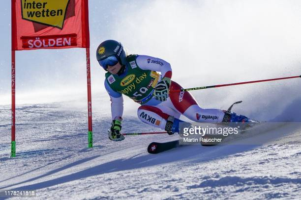 Jasmina Suter of Switzerland in the first run of the Audi FIS Alpine Ski World Cup - Women's Giant Slalom at Rettenbachferner on October 26, 2019 in...