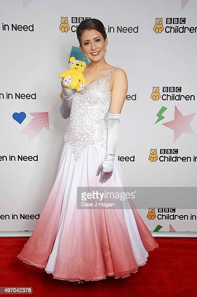 Jasmine Armfield shows her support for BBC Children in Need at Elstree Studios on November 13 2015 in Borehamwood England