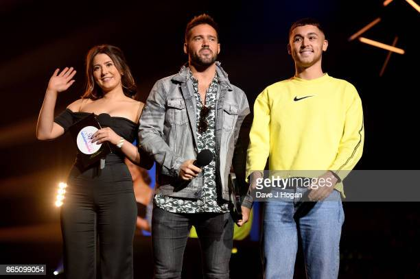 Jasmine Armfield Spencer Matthews and Shaheen Jafargholi speak on stage at the BBC Radio 1 Teen Awards 2017 at Wembley Arena on October 22 2017 in...