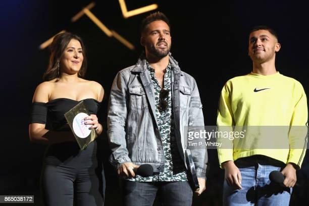 Jasmine Armfield Spencer Matthews and Shaheen Jafargholi speak on stage during the BBC Radio 1 Teen Awards 2017 at Wembley Arena on October 22 2017...