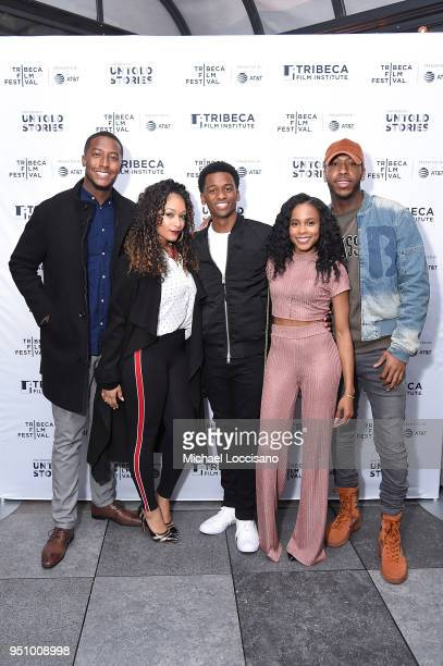 Jasmine Beaullieu actor Antonio J Bell Marquita Goings and Donnay Ragland attend the after party for Nigerian Prince hosted by ATT at Magic Hour...