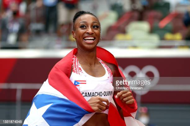 Jasmine Camacho-Quinn of Team Puerto Rico celebrates winning the gold medal in the Women's 100m Hurdles Final on day ten of the Tokyo 2020 Olympic...
