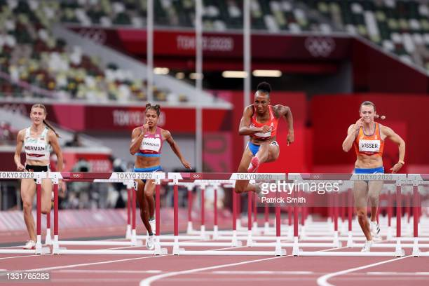 Jasmine Camacho-Quinn of Team Puerto Rico leads her Women's 100m Hurdles Semi-Final field on day nine of the Tokyo 2020 Olympic Games at Olympic...