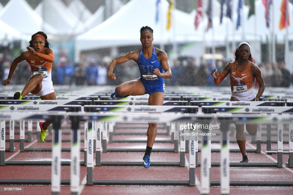 Jasmine Camacho-Quinn of the Kentucky Wildcats races to a first place finish in the 100 meter hurdles during the Division I Women's Outdoor Track & Field Championship held at Hayward Field on June 9, 2018 in Eugene, Oregon.