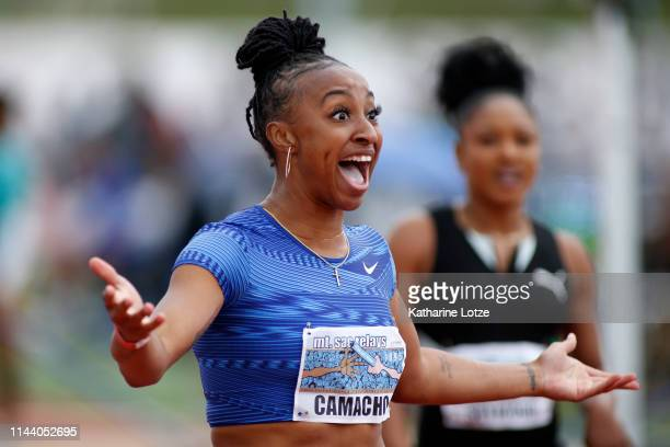 Jasmine CamachoQuinn reacts to an officiant mistake after the women's 100 meter hurdles on the second day of the 61st Mt SAC Relays at Murdock...