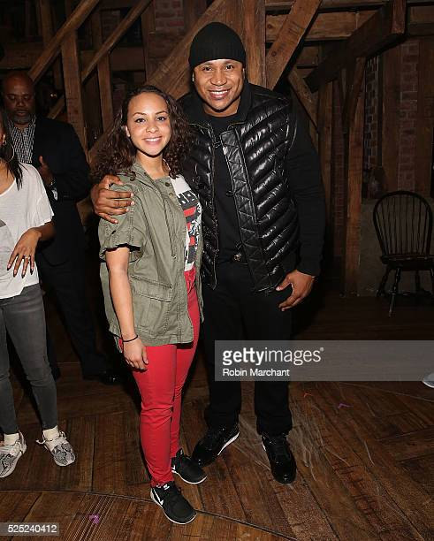 Jasmine Cephas Jones and LL Cool J pose backstage at Broadway's Hamilton at Richard Rodgers Theatre on April 27 2016 in New York City