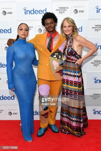 "Jasmine Cephas Jones, Benjamin Earl Turner and Helen Hunt attend STARZ's ""Blindspotting"" premiere at Tribeca Film Festival at Hudson Yards on June..."