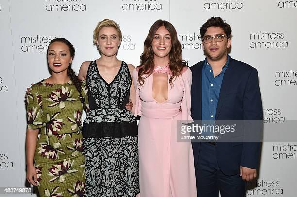 Jasmine Cephas Jones Greta Gerwig Lola Kirke and Matthew Shear attend the Mistress America New York Premiere at Landmark Sunshine Cinema on August 12...