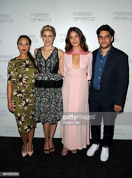 Jasmine Cephas Jones Greta Gerwig Lola Kirke and Matthew Shear attend Mistress America New York premiere at Landmark Sunshine Cinema on August 12...