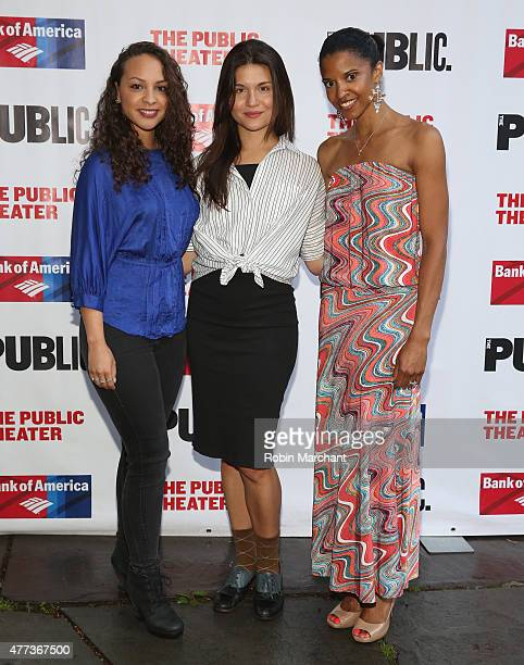 Jasmine Cephas Jones Phillipa Soo and Renee Elise Goldsberry attend The Public Theater's Opening Night Of The Tempest at Delacorte Theater on June 16...