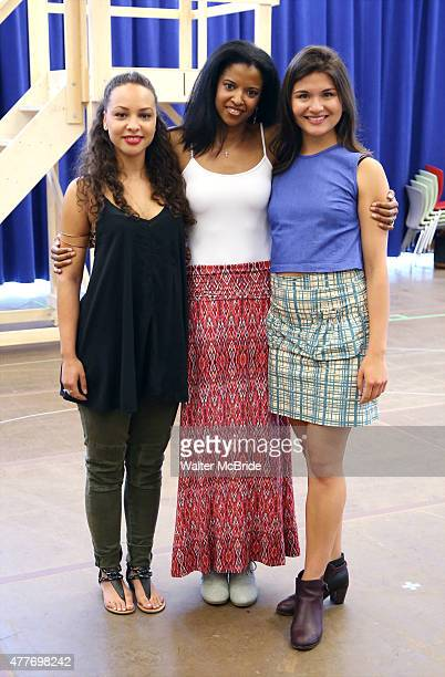 Jasmine Cephas Jones Renee Elise Goldsberry and Phillipa Soo attend the 'Hamilton' Meet and Greet at the New 42nd Street Studios on June 18 2015 in...