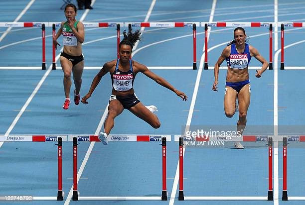 US Jasmine Chaney and competes in the women's 400 metres hurdles heats at the International Association of Athletics Federations World Championships...