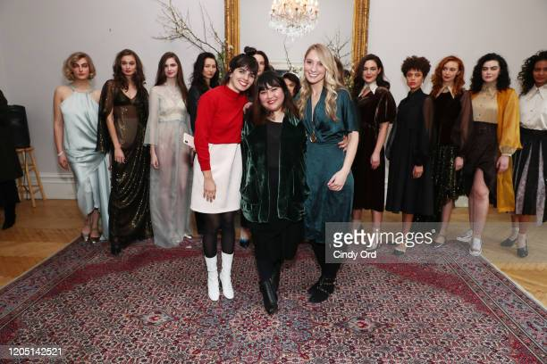 Celia Torvisco Jasmine Chong and Emily Kenison pose with models after the Jasmine Chong runway show during New York Fashion Week on February 09 2020...