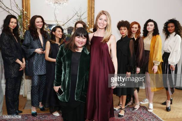 Jasmine Chong and Heidi Morris pose with models after the Jasmine Chong runway show during New York Fashion Week on February 09 2020 in New York City