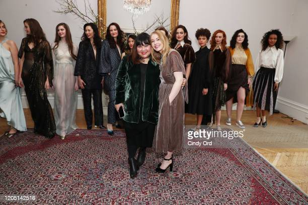 Jasmine Chong and Kate Robards pose with models after the Jasmine Chong runway show during New York Fashion Week on February 09 2020 in New York City