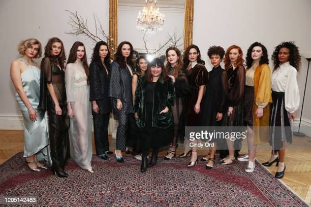Jasmine Chong poses with models during the Jasmine Chong presentation during New York Fashion Week on February 09 2020 in New York City
