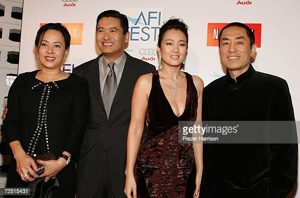 Jasmine Chow actor Chow Yun Fat actress Gong Li and director Zhang Yimou arrive for the closing night gala presentation of the film Curse of the...