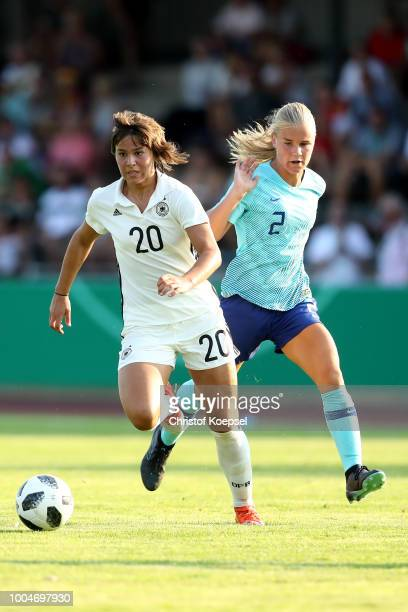 Jasmine Duppen of the Netherlands challenges Lena Sophie Oberdorf of Germany during the friendly match between Germany U20 Girl's and the Netherlands...