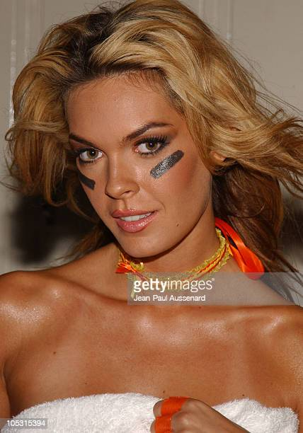 Jasmine Dustin during 200405 Lingerie Football League Calendar Shoot at South Bay Beach Studios in Long Beach California United States