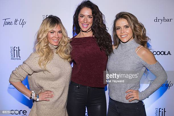 Jasmine Dustin, Karena Dawn and Katrina Scott pose for a photo in the Tone It Up Wellness Lounge during the Sundance Film Festiva on January 21, 2017...