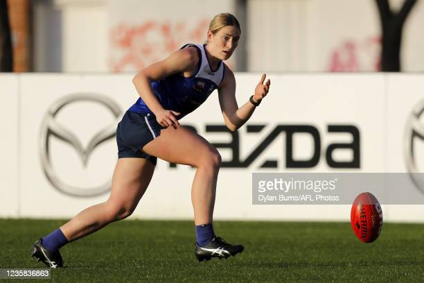 Jasmine Ferguson of the Kangaroos in action during the North Melbourne training session at Arden Street Oval on October 12, 2021 in Melbourne,...