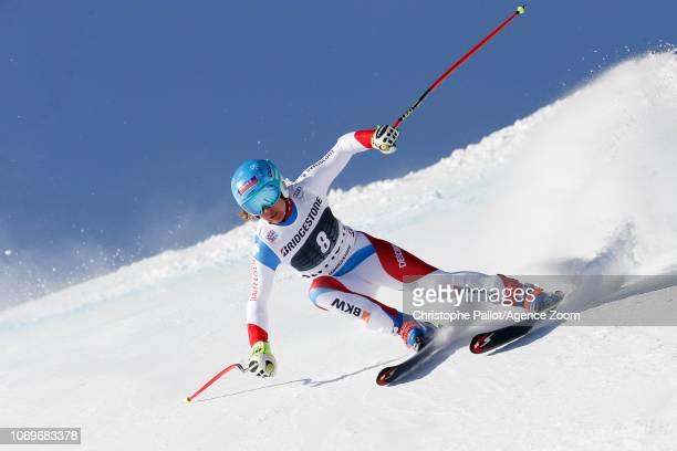 Jasmine Flury of Switzerland competes during the Audi FIS Alpine Ski World Cup Women's Super G on December 8 2018 in St Moritz Switzerland