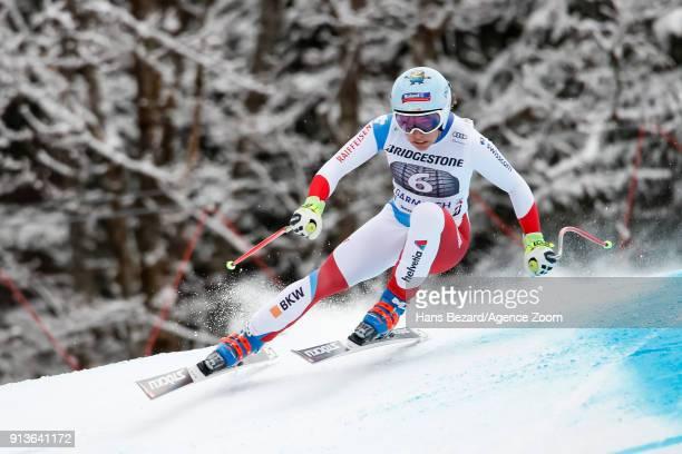 Jasmine Flury of Switzerland competes during the Audi FIS Alpine Ski World Cup Women's Downhill on February 3 2018 in GarmischPartenkirchen Germany