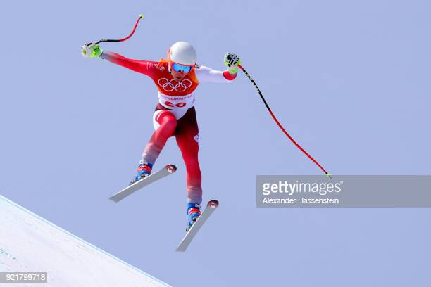 Jasmine Flury of Switzerland competes during the Ladies' Downhill on day 12 of the PyeongChang 2018 Winter Olympic Games at Jeongseon Alpine Centre...