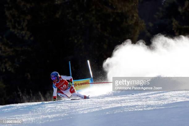 Jasmine Flury of Switzerland in action during the Audi FIS Alpine Ski World Cup Women's Super G on February 9, 2020 in Garmisch Partenkirchen,...
