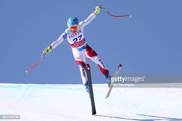 Jasmine Flury of Switzerland skis the course during the Audi FIS Ski World Cup 2017 Ladies' Downhill Training at the Jeongseon Alpine Centre on March...