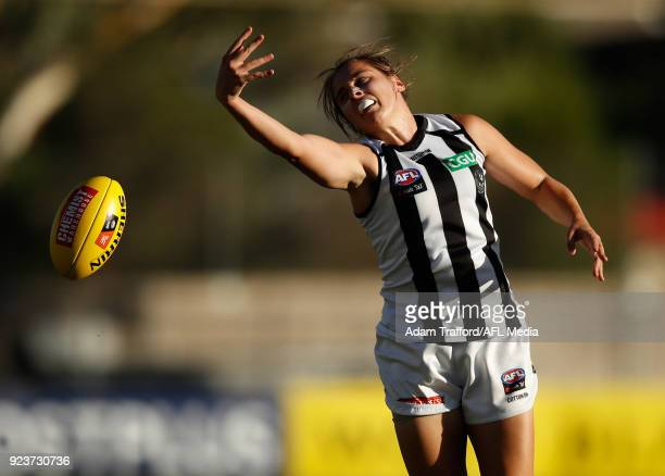 Jasmine Garner of the Magpies attempts to mark during the 2018 AFLW Round 04 match between the Melbourne Demons and the Collingwood Magpies at TIO...