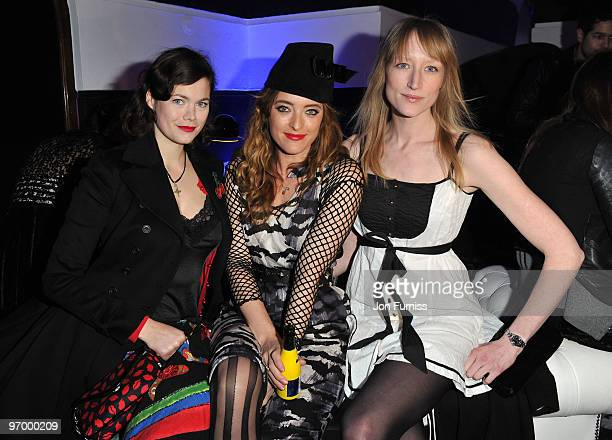Jasmine Guinness Alice Temperley and Jade Parfitt attend Alice in Wonderland themed launch of 'Alice by Temperley' collection during London Fashion...