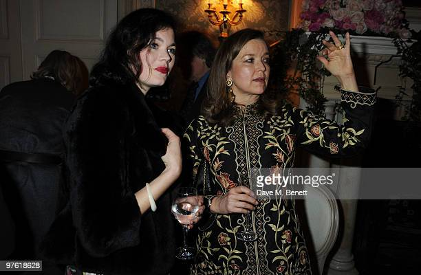 Jasmine Guinness and Charlotte Mosley attend the Nancy Mitford 'Wigs on the Green' reissue party held by Catherine Ostler and the Dowager Duchess of...