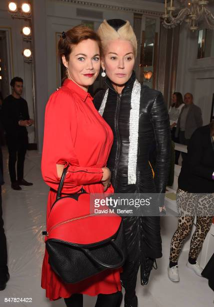 Jasmine Guinness and Daphne Guinness attend the Jasper Conran SS18 catwalk show during London Fashion Week September 2017 on September 16 2017 in...