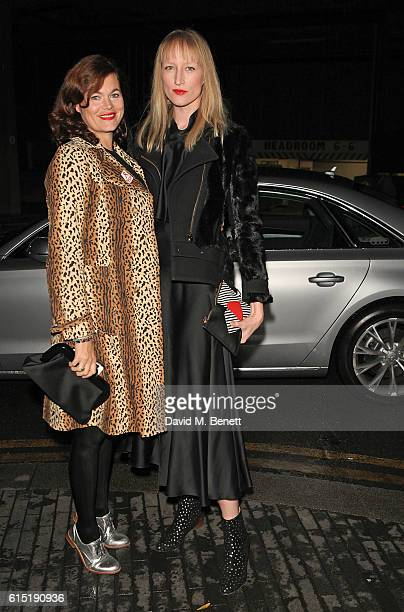 Jasmine Guinness and Jade Parfitt arrive in an Audi at the RED Women of the Year Awards at Skylon on October 17 2016 in London England