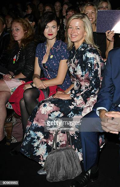 Jasmine Guinness and Lady Helen Taylor attend the Kinder Aggugini fashion show at the BFC tent Somerset House on September 19 2009 in London England