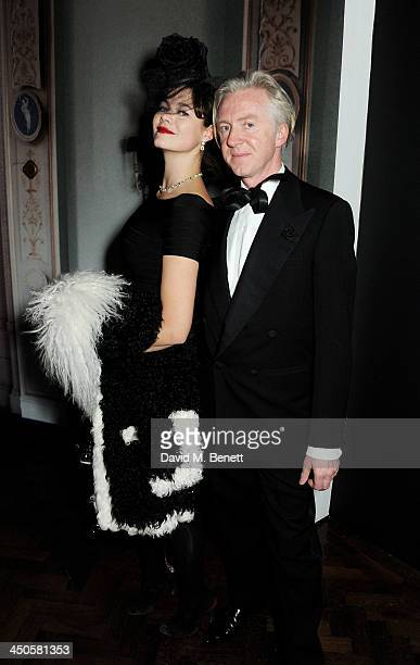 Jasmine Guinness and Philip Treacy attend the private view of Isabella Blow Fashion Galore a new Somerset House exhibition at Somerset House on...