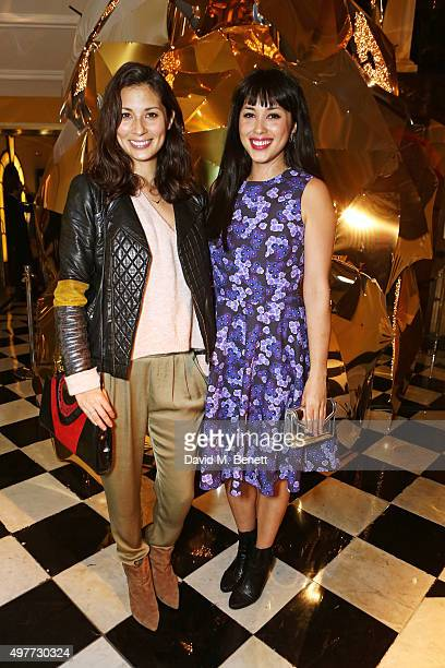 Jasmine Hemsley and Melissa Hemsley attend the Claridge's Christmas Tree Party 2015, designed by Christopher Bailey for Burberry, at Claridge's Hotel...